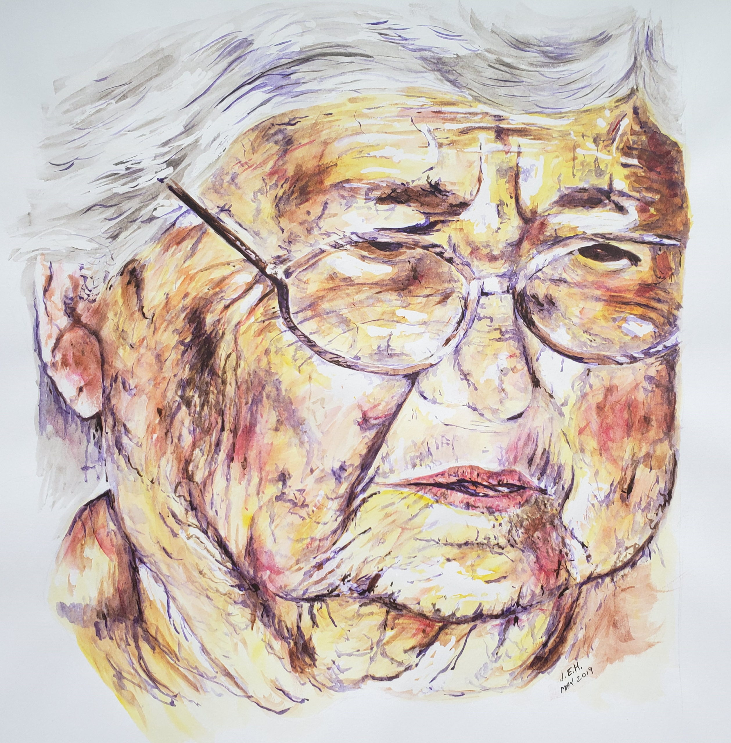 Watercolor sketch, old face, by John Huisman