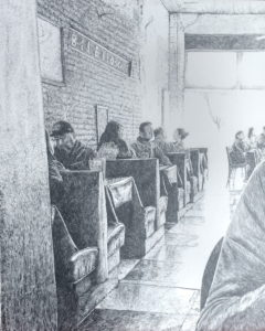 Bilello's Cafe, pencil drawing by John Huisman