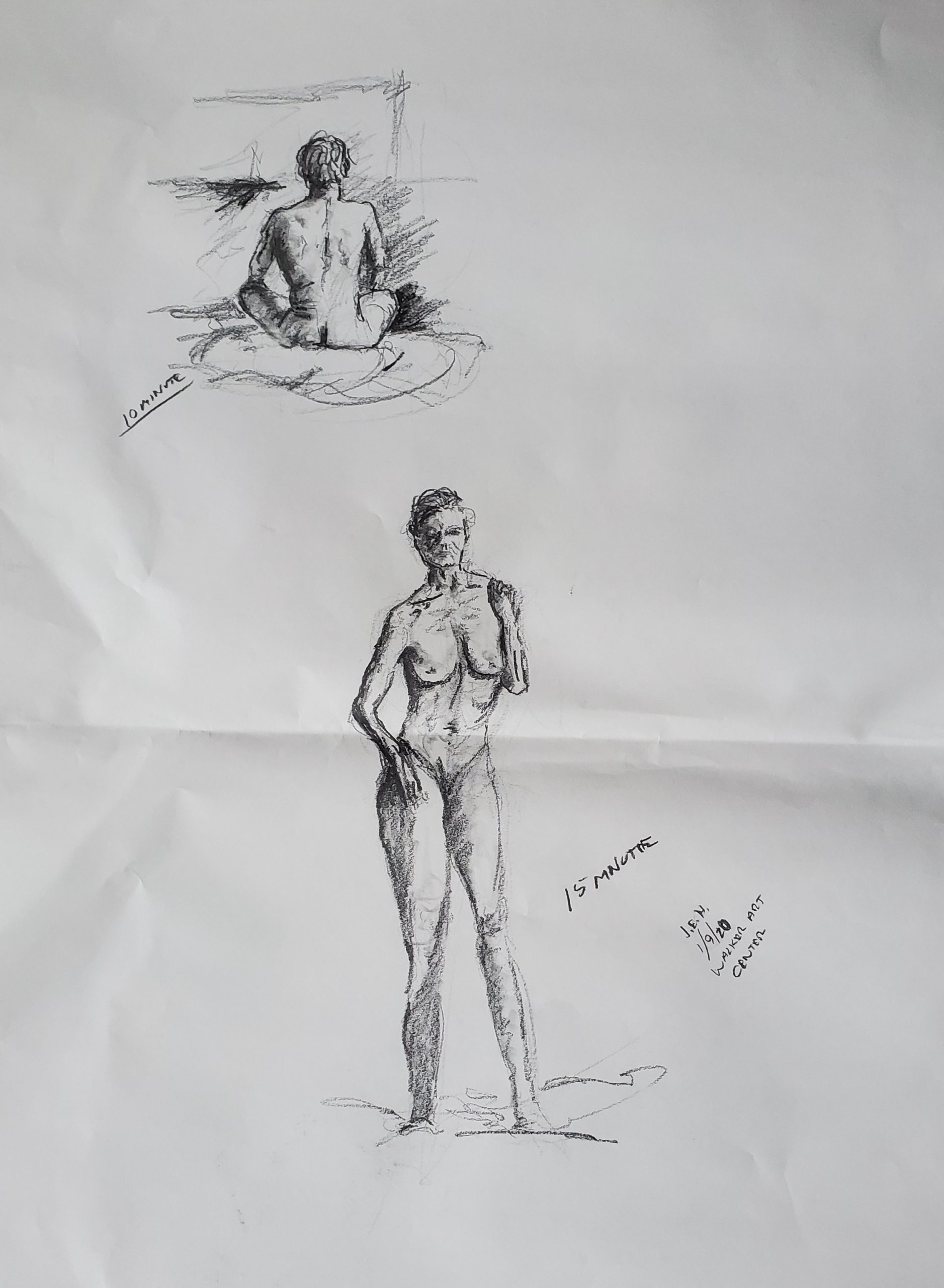 Figure drawing session at the Walker in Minneapolis, sketches by John Huisman
