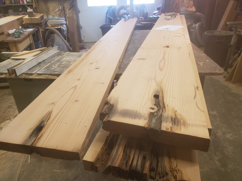 100 year old Douglas Fir slabs for custom table by john Huisman