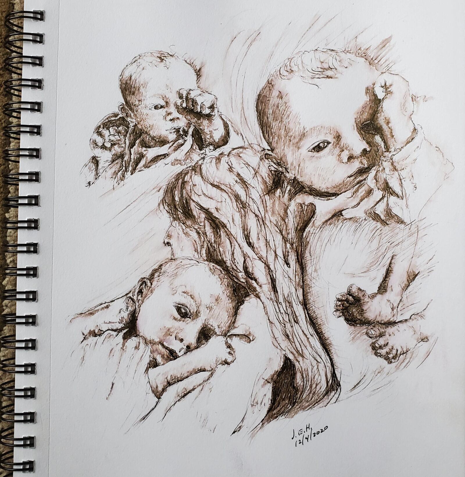 Art work, pen and ink sketch by John Huisman