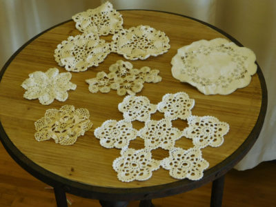 Set of 6 White and Ivory Doilies for event and wedding rental