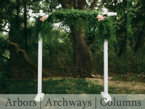 Arbors, arches and column rental for weddings and special occasions