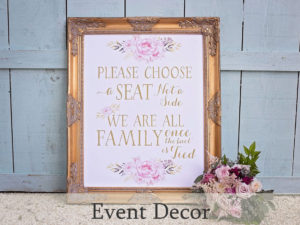 Event rentals including decor and props for special occasions and weddings
