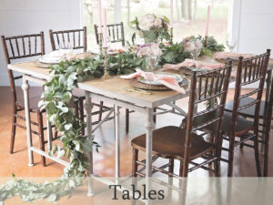 Table rentals for special occasions, weddings, and events