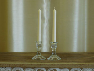 Faux Crystal Candlestick Holders for event and wedding decor rental