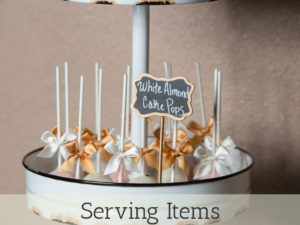 Serving items rentals for events and weddings