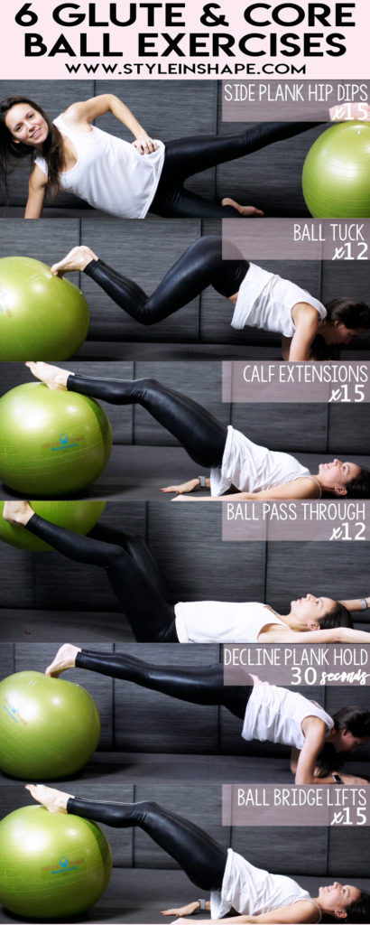 6 ball exercises that target glutes and core