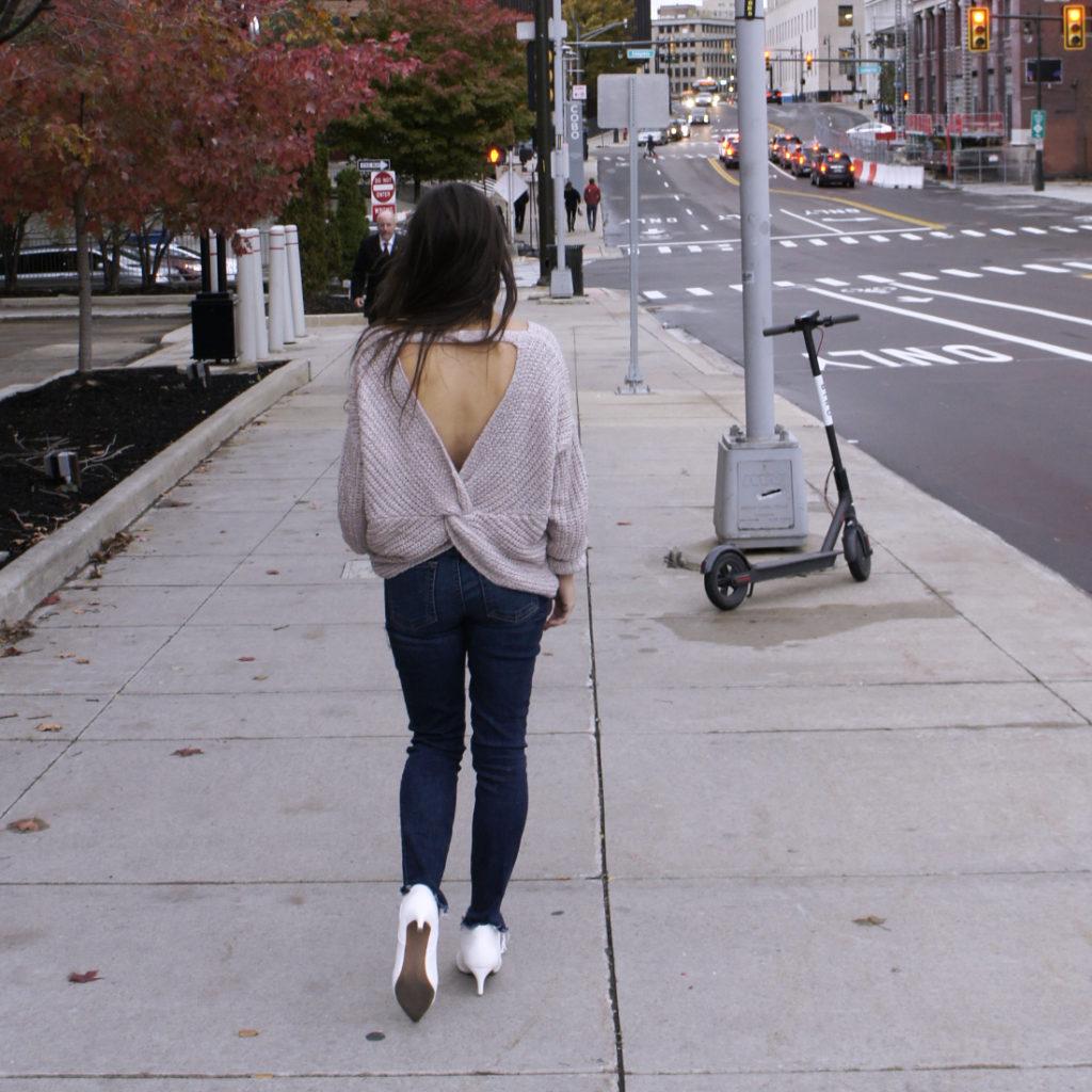 She+Sky Twist Back Sweater