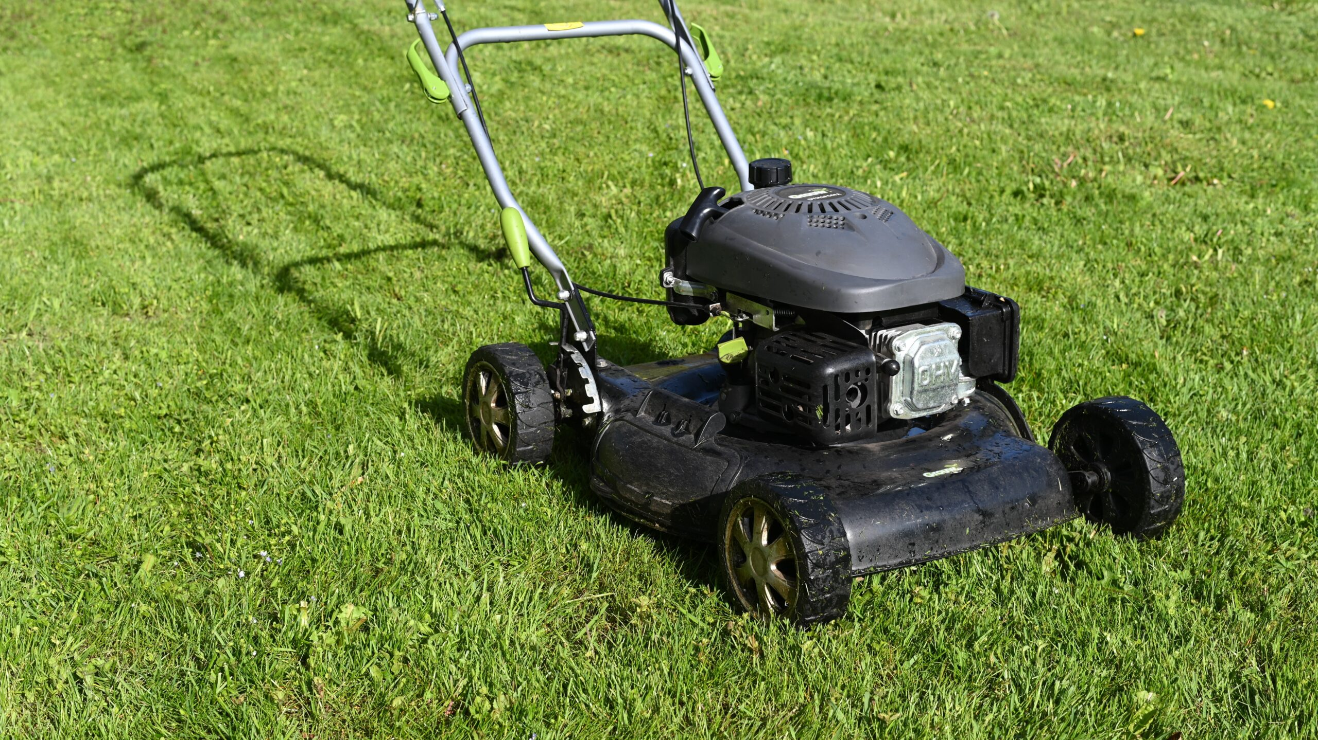 An old, black push lawnmower sitting on a freshly-cut lawn