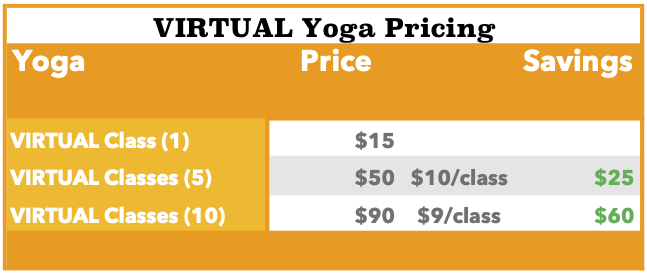 Virtual Yoga Pricing Only