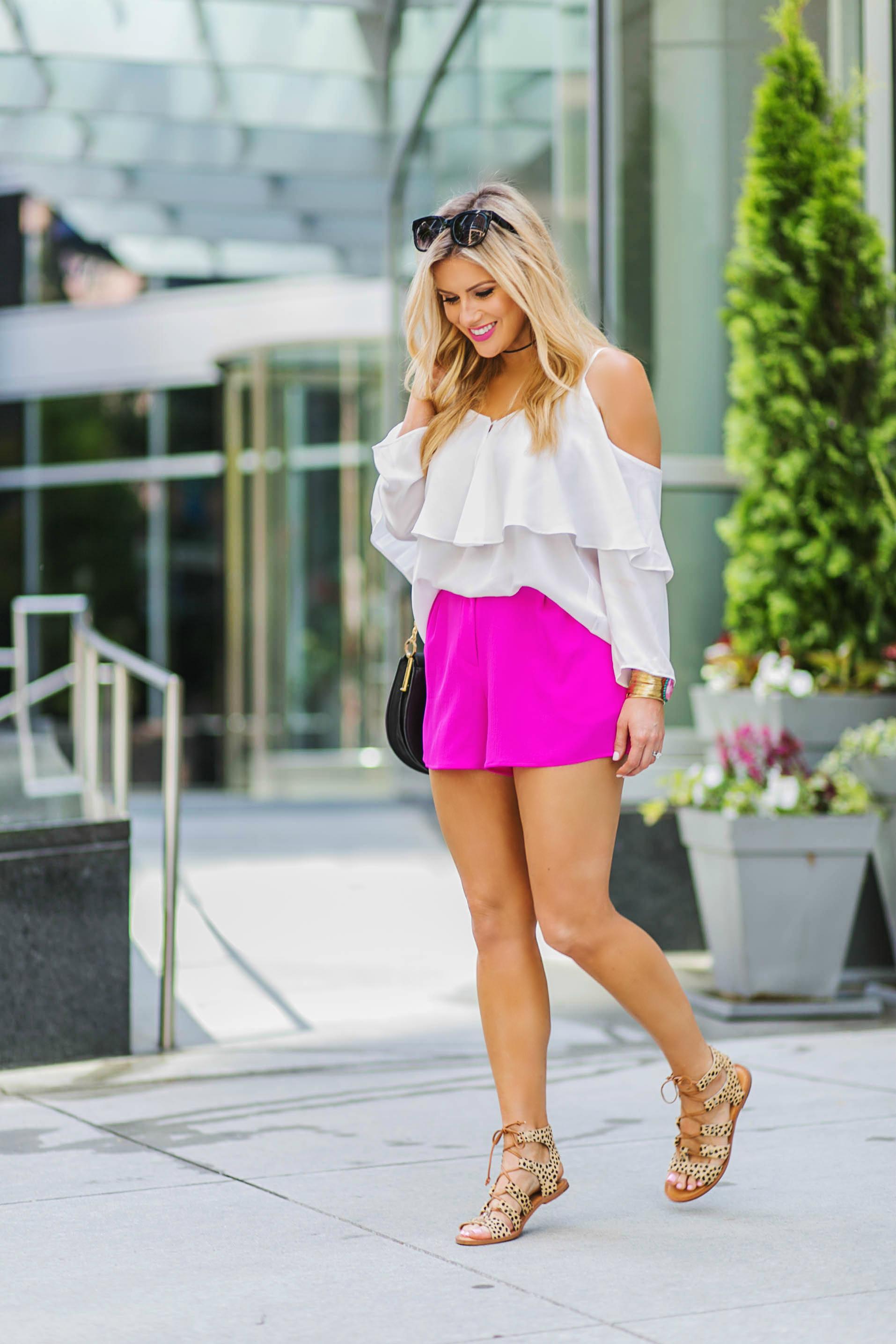 pink shorts + leopard flats