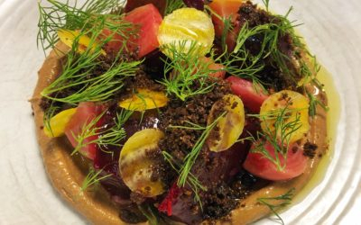 Beets with Black Garlic Tehina, Pumpernickel and Dill