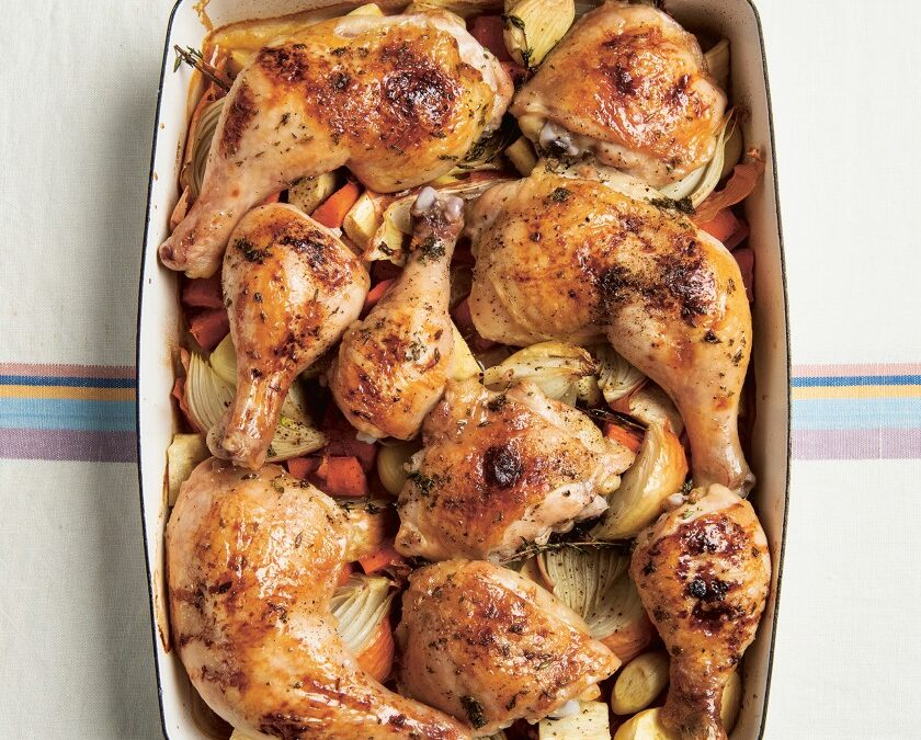 Roast Chicken with Thyme and Honey  PLUS Leah's Apple Schalet