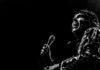Luke Spiller of the Struts in black and white in Denver