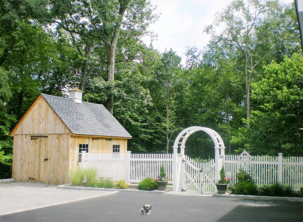 White Arbor, Gate, Picket Fence, Cupola, Barn and dog