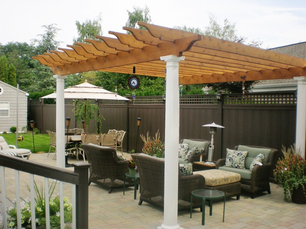 Vinyl and Cedar Patio Pergolas