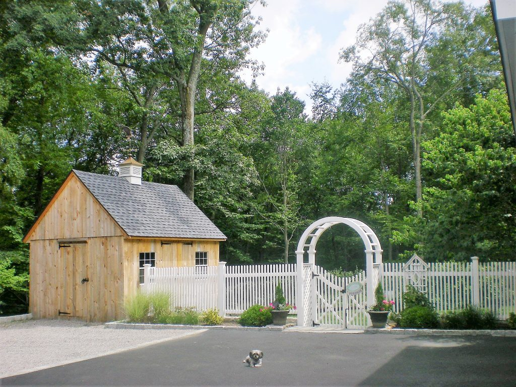Picket Fencing, Barn, Arbor and Dog
