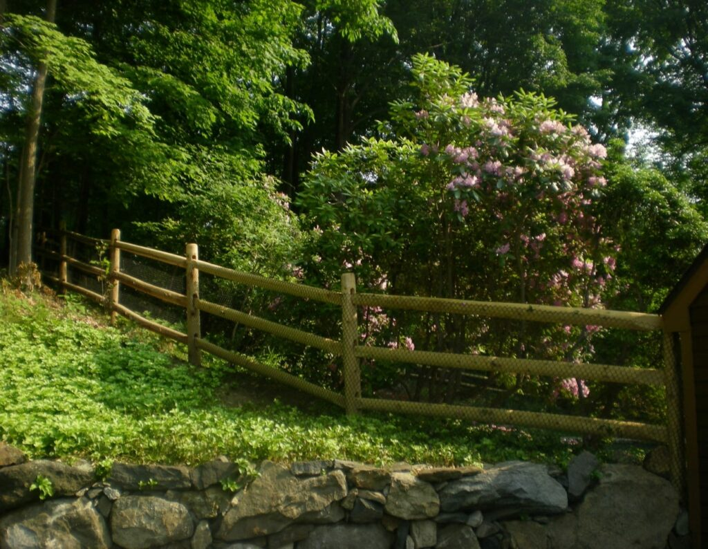 3 Rail Post and Rail Fence with Wire Mesh