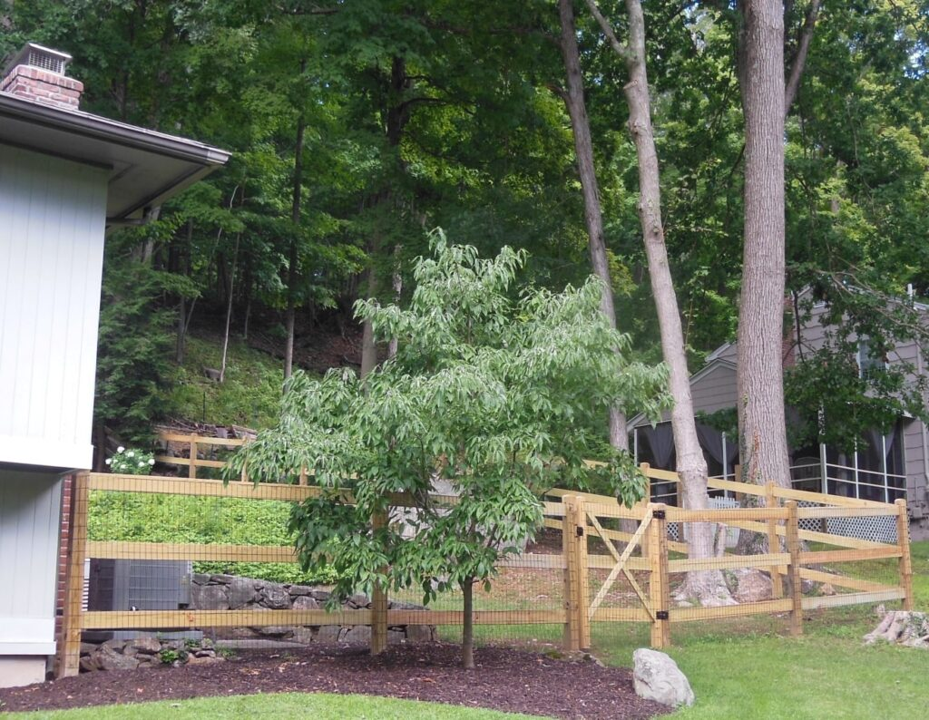 Cedar Post and Rail Fencing with Gate