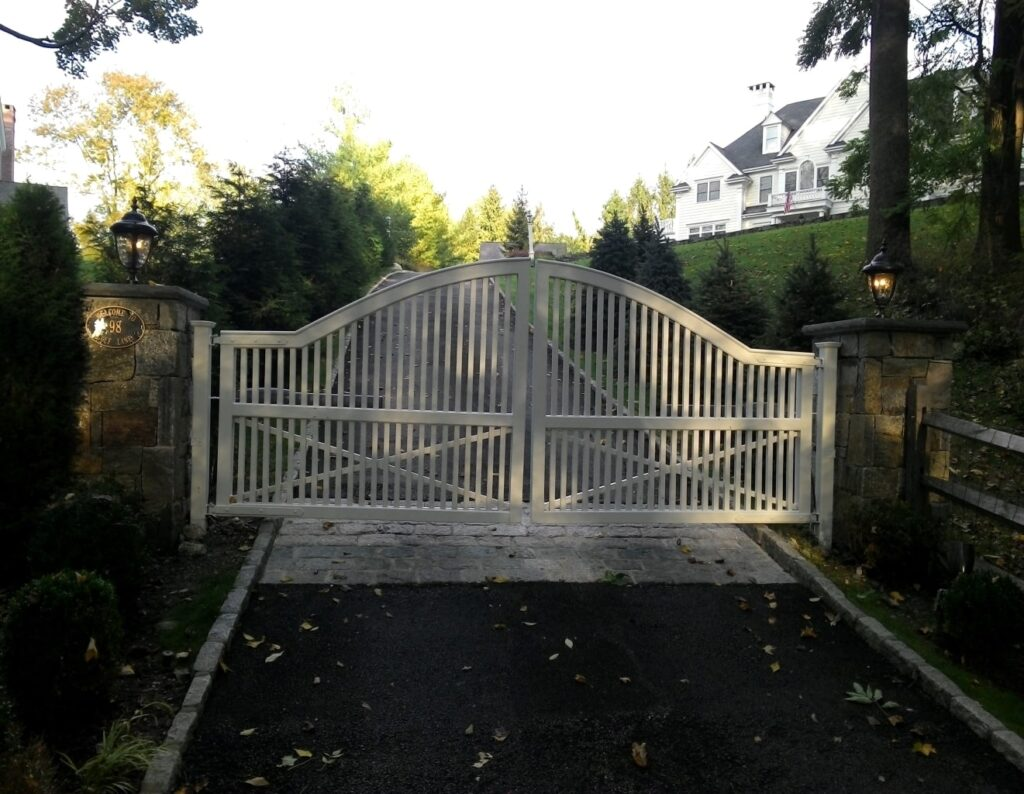 White Double Arched Entry Gate