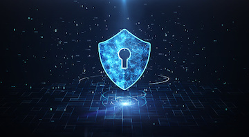 Big Data Protection Cyber Security Concept With Shield Icon In Cyber Space.Cyber Attack Protection For Worldwide Connections,Block chain. Digital Big Data Stream Analysis.
