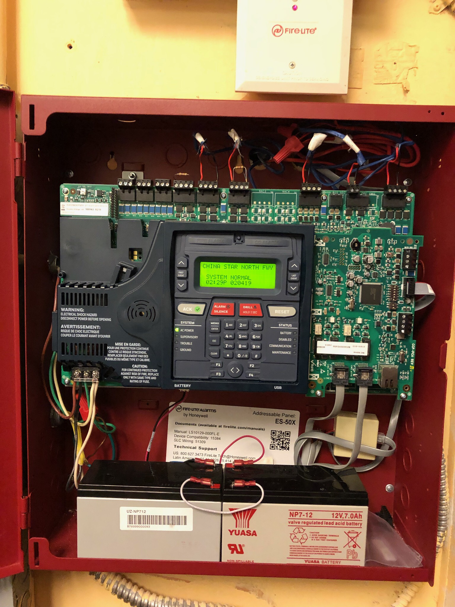 Fire alarm panel houston fire lite