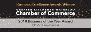 Kitchener Waterloo Chamber of Commerce Business of the Year Winner