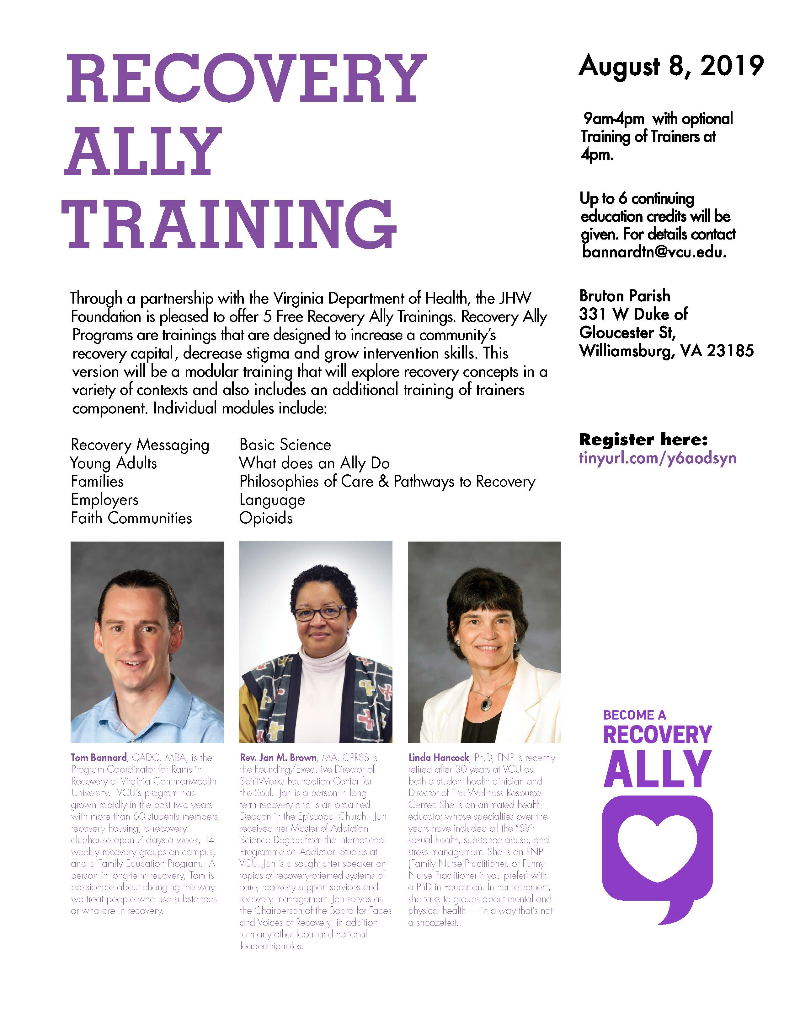 Recovery Ally Training Aug 2019 Williamsburg