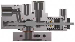 Water Cooled Three-Way Purge Valve Cutaway