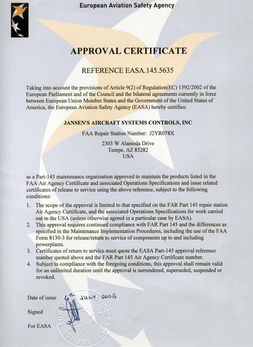 EASA Repair Station Certificate