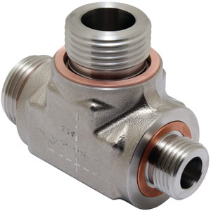 Tube Adapter Tee with Copper Crush Gaskets
