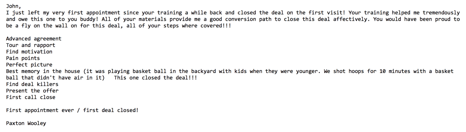 Paxton Email Testimonial