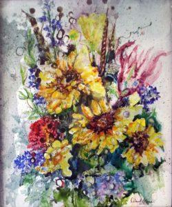 A Memorable Bouquet, Watercolor by Deborah Elaine - Size 24in x 20in (March 2017)
