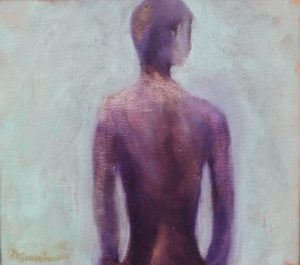 Ambivalent Nude, oil by Donald Carnoham, 15in x 17in x 2in (September 2016)