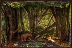 Babe in Woods, Assemblage by Kathleen Mullins - 6in x 9in x3in (Dec.2016-Jan.2017)