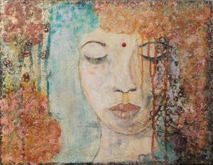 Deep Meditation, mixed media by Darlene Wilkinson, 14in x 18in (September 2016)