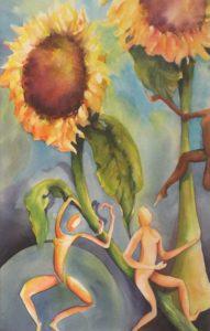 Earthen Sun Dancers, Watercolor by Deborah Elaine - Size 22in x 14in (March 2017)