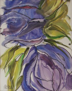 SECOND PLACE: Flowing Foliage, Watercolor and Ink by Rita Rose and Rae Rose - Size 14in x 11in (April 2017)