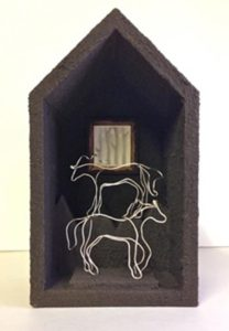 From Dusk to Dawn 2, Wood, Acrylic, Sterling Wire, Silverpoint by Virginia Van Horn - Size 7in x 4in x 3in (Dec.2016-Jan.2017)