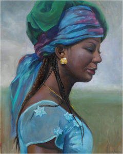 Girl with a Gold Earring, Oil by Christine Dixon - Size 20in x 16in (March 2017)