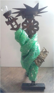 Ms. Liberty, Found Object Sculpture by Pam Weldon - Size 18in x 6in x 4in (March 2017)