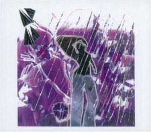 Purple Rain, mixed media collage by Teresa Blatt, 10.5in x 12in (September 2016)