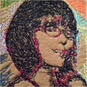 Rose Colored Glasses, embroidery by Bonnie MacAllister, 10in x 10in (September 2016)