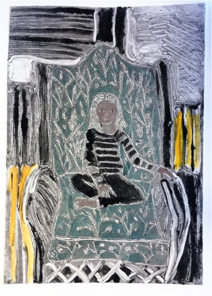 THIRD PLACE: Small Girl, Big Chair, Monotype-Mixed Media by Linda Rose Larochelle - Size 7in x 5in (Dec.2016-Jan.2017)