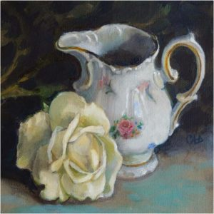 Still Life with Little Creamer, Oil by Christine Dixon - Size 8in x 8in (Dec.2016-Jan.2017)