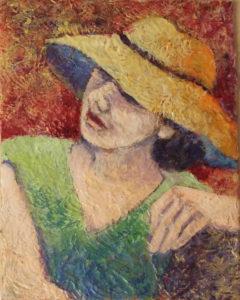 Straw Hat (Large), Acrylic by Sally Rhone-Kubarek - Size 10in x 8in (Dec.2016-Jan.2017)