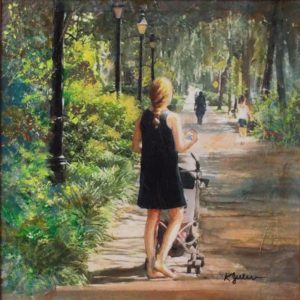 Walk in the Park, acrylic over photo collage by Karen Julihn,  12in x 12in (September 2016)