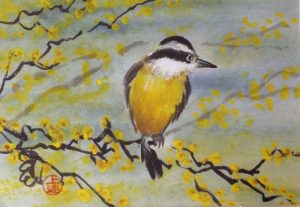 Yellow Bird, Sumi-e by Carol Waite -  Size 5in x 7.25in Framed 9.5in x 11.5in (Dec.2016-Jan.2017)