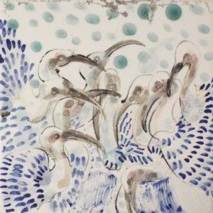 A Crowd, Ceramic by Rachel Van Dyke- Size 6in x 6in (August 2016)